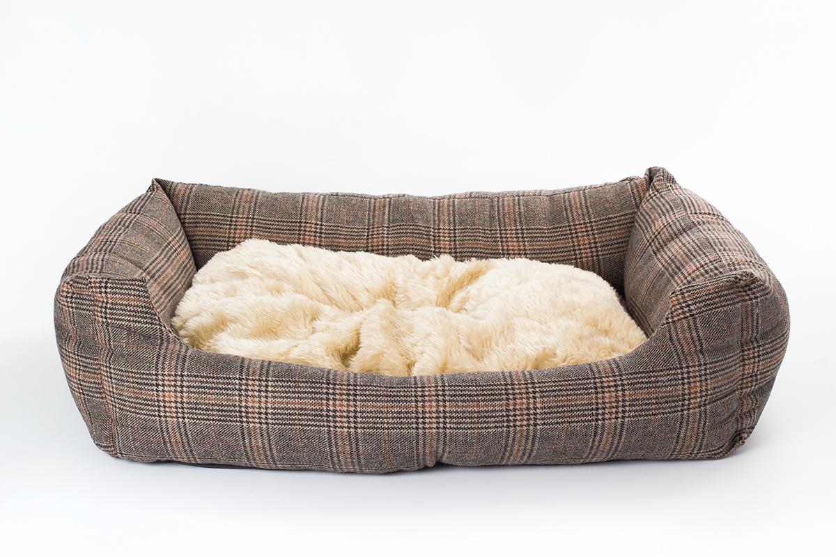 Hundebett Tweed-Optik 100x70 cm mit Wendekissen