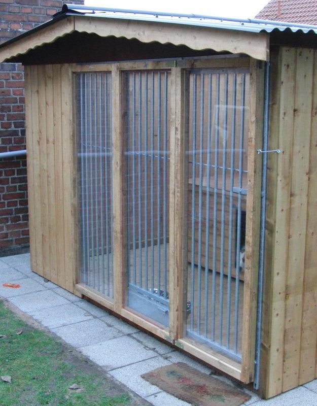 Windschutz für SAUERLAND Hundezwinger, imprägniert B 2,0 m, 3-teilig mit klappbarer Tür