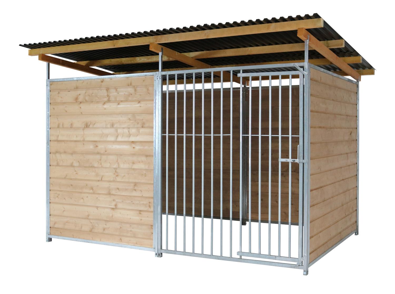 Home Rohrstab-Zwinger 2 x 3 m inkl. Futterset | 3,5-seitig geschlossen | braun imprägniert | Rohrstab Abstand 8 cm