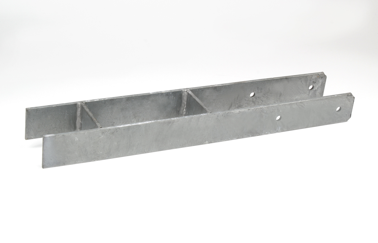 Set 4x Bodenanker schwer H-Form verzinkt 91 x 600 mm für 9 cm Pfosten