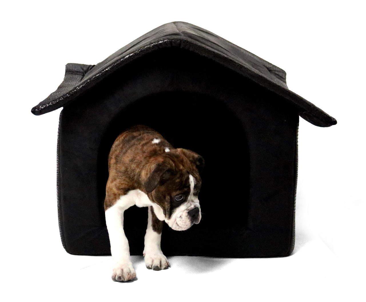 Stoff-Hundehütte / Hundehöhle, schwarz - 64 x 57 x 60 cm