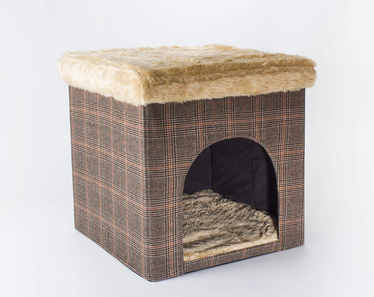 Hundehöhle / Katzenhöhle und Hocker, Tweed-Optik, 50x50x50 cm