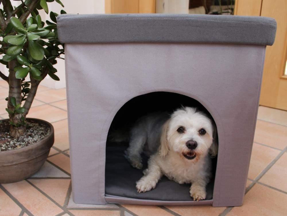 Hundehöhle / Katzenhöhle und Hocker grau, 50x50x50cm