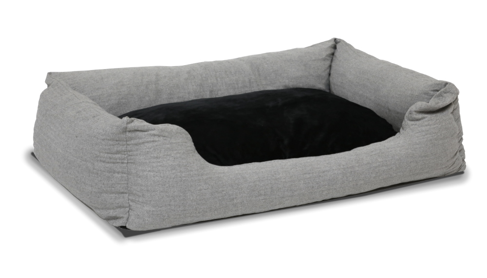 Hundebett grau mit Wendekissen, ca. 120 x 80 cm, Memory Foam