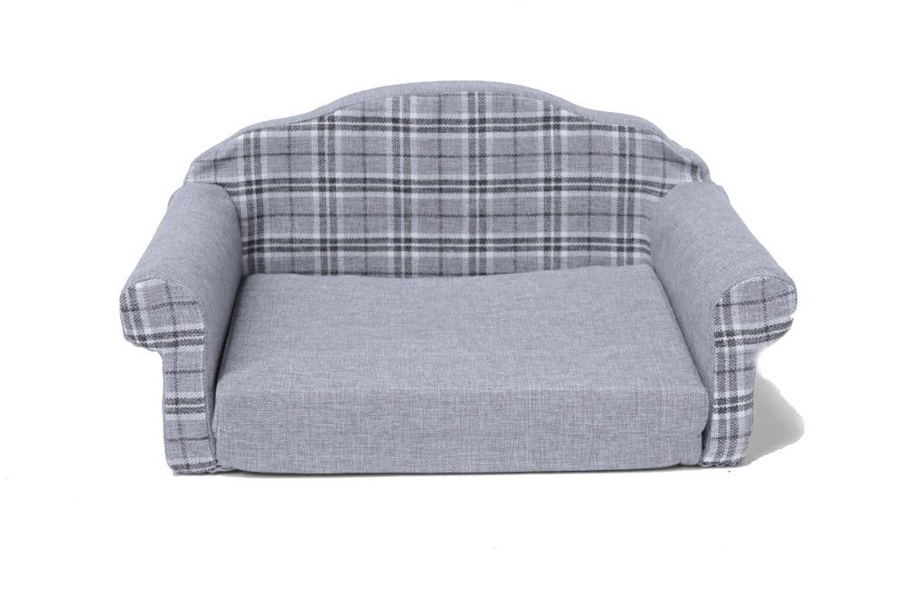 Hundesofa / Katzensofa, ausklappbar mit Textilbezug grau kariert